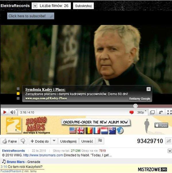 Kaczyński w teledysku Bruna Marsa –