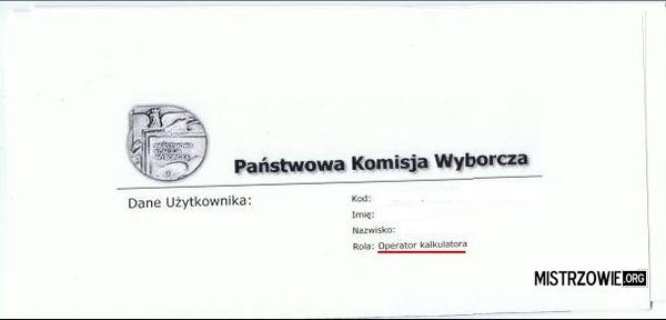 Stanowisko w Komisji wyborczej –