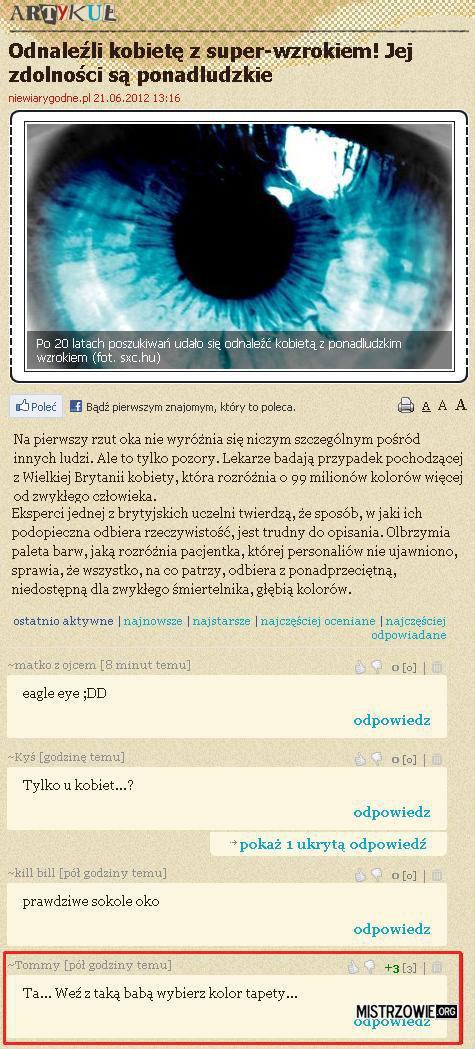Kobieta z super-wzrokiem –