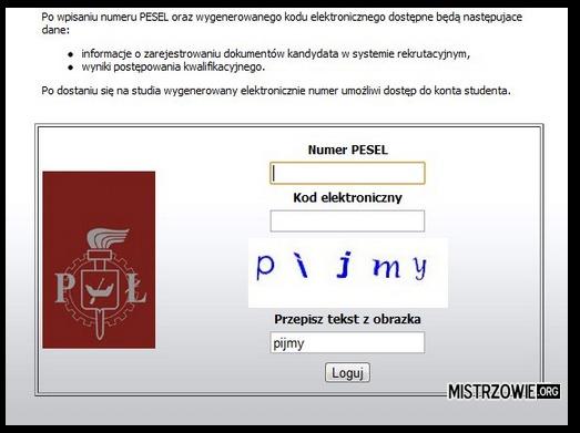 System rekrutacji politechniki Łódzkiej –