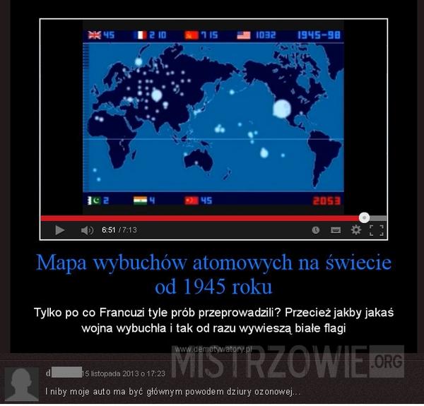 Mapa wybuchów atomowych –