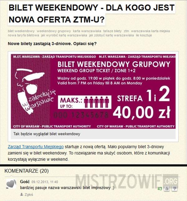 Warszawski Bilet Imprezowy –