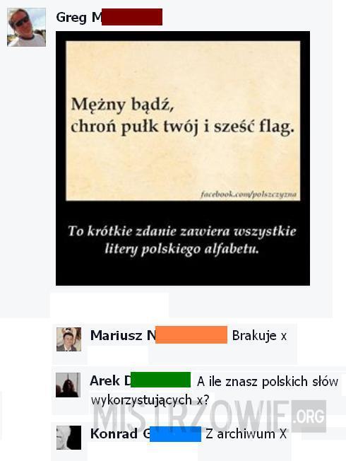 X W Polskim Alfabecie