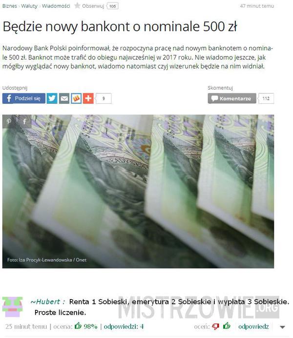 Banknot o nominale 500 zł –