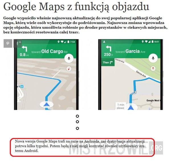 Google Maps dla Androida... i Androida –