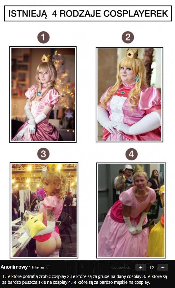 Istnieją 4 rodzaje cosplayerek –