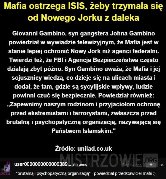 Mafia ostrzega ISIS –