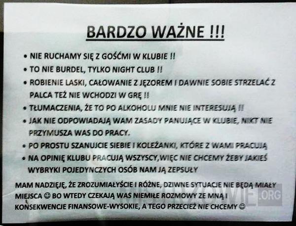 Wytyczne dla pracownic night clubu –