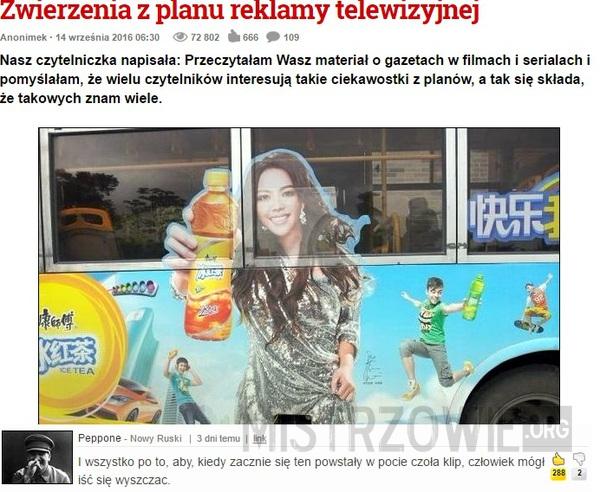 Zwierzenia z planu reklamy telewizyjnej –