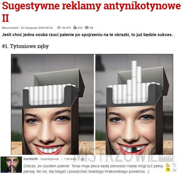 Sugestywne reklamy antynikotynowe –