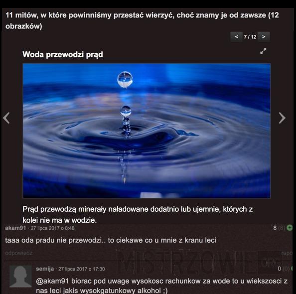 Woda przewodzi prąd –