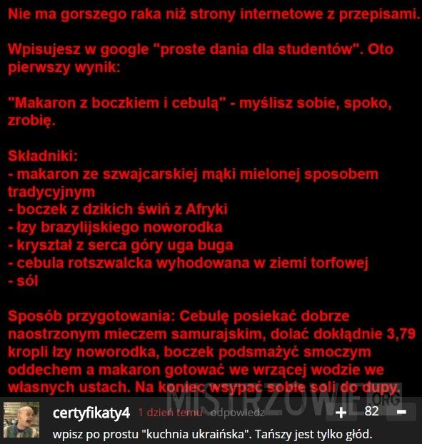 Strony internetowe z przepisami –