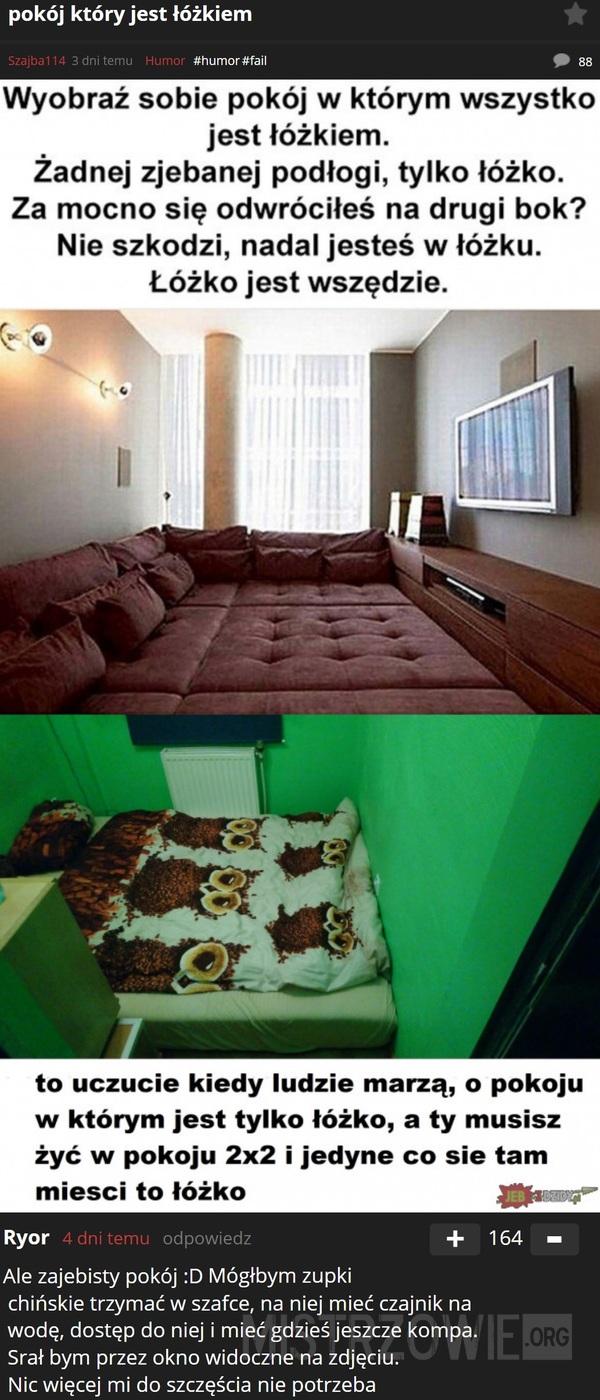 Pokój który jest łóżkiem